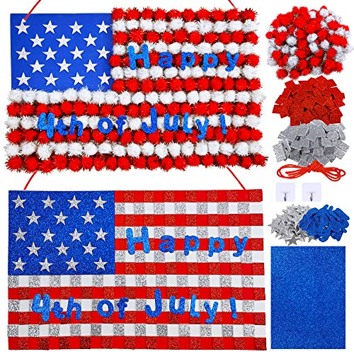 2 Sets Patriotic American USA Red White Blue Pom-Pom Flag Sign and Mosaic Flag Hanging Sign Craft Kits Self-Adhesive Foam Stickers for Kids Art Classroom 4th of July Veteran's Day Memorial Day Decor