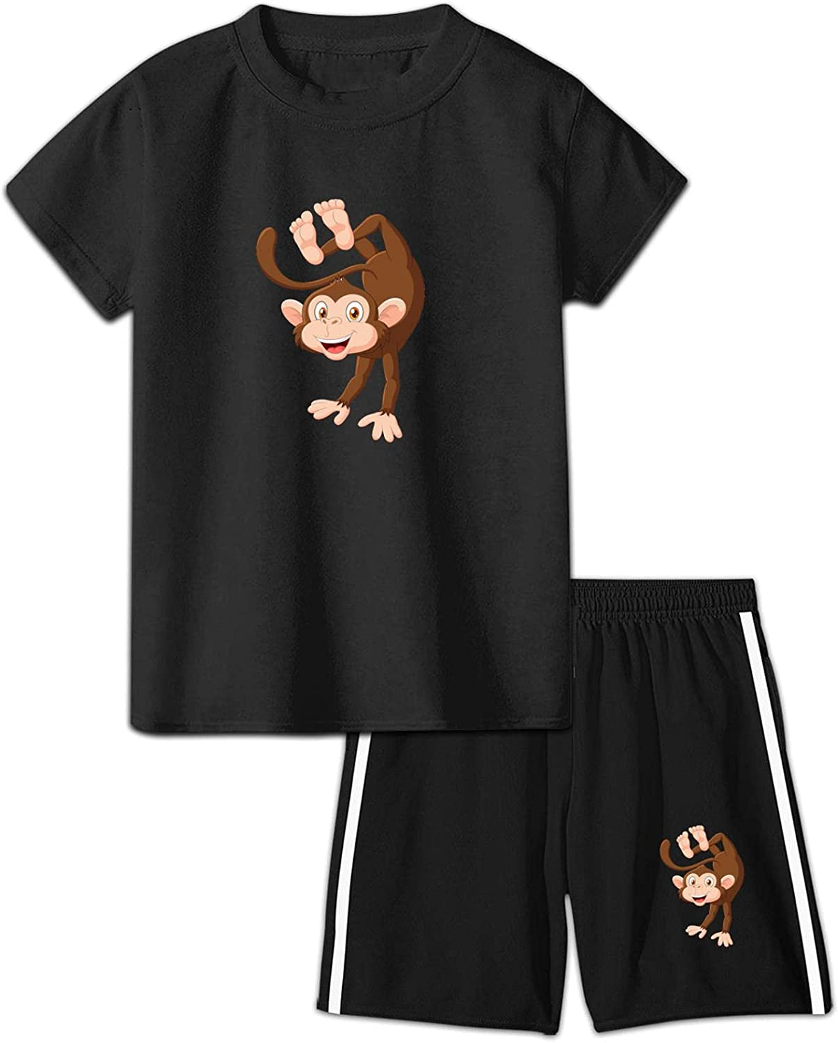 CAPINER Boys Girls Cartoon Cute Monkey Cotton Short T-Shirt Shorts Suit,3D Printed Youth 2 Pieces Athletic Jogger Outfits