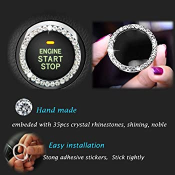 Earthland 2Pcs Crystal Rhinestone Ring for Car Decor, Auto Engine Start Stop Decoration Crystal Interior Ring Decal f...