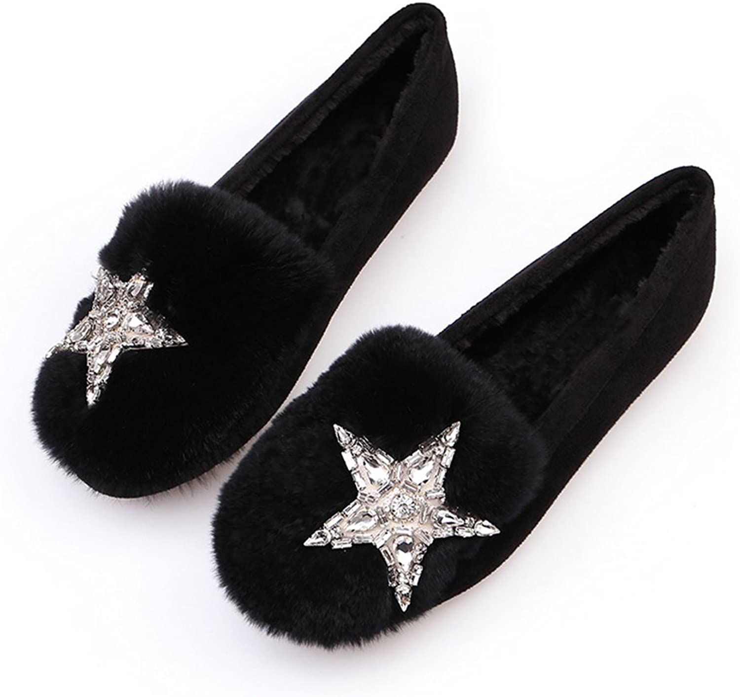 QZUnique Women Fluffy Flat Loafers shoes Soft Warm Moccasin Slippers with Satr Rhinestones Decoration