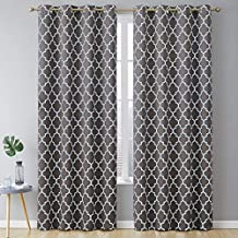 HLC.ME Lattice Print Pattern Thermal Insulated Blackout Room Darkening Energy Efficient Window Curtain Grommet Panels for Bedroom, Dining Room, and Office - Set of 2-52 W x 84 L - Grey