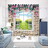 3D 森の風景 リビングルーム カーテンセット,クリエイティブ ポリエステル 風景 ウィンドウトリートメント,モダン ドレープカーテン ウィンドウパネル 用 寝室 家の装飾-R 300x270cm(118x106inch)