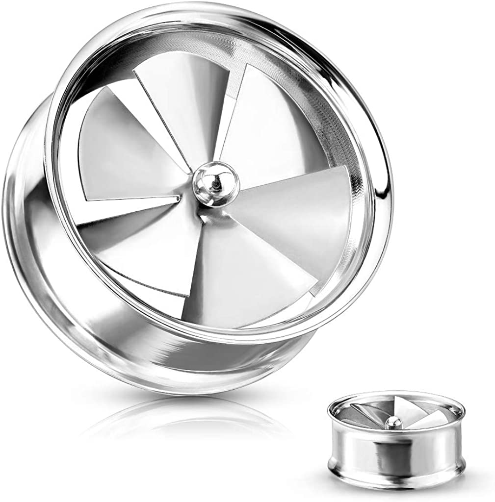 Covet Jewelry Spinning Pinwheel Fan Double Flare Tunnels 316L Surgical Steel