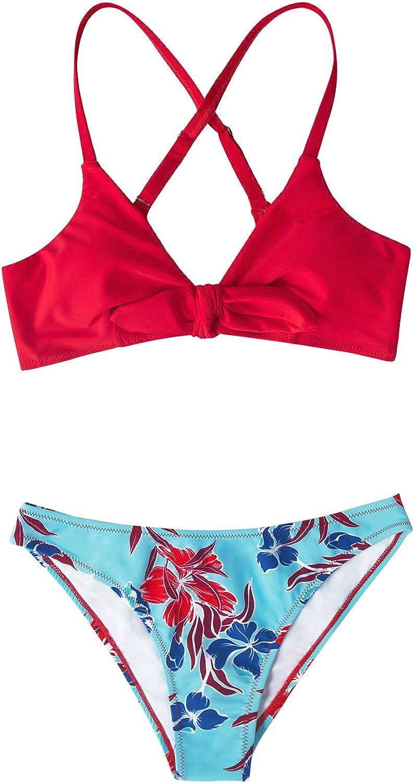 CUPSHE Women's Floral Print Knot Adjustable Bikini Sets Two Piece Bathing Suit