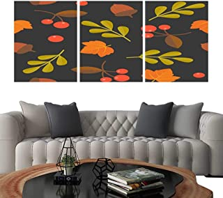 UHOO Modern Canvas Painting Wall Art Seamless Pattern Acorn Maple and Wild Berries for Fall Season and Thanksgiving. Triple Art Stickers 20