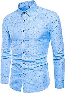 SPE969 Men's 2 Colors Solid Comfort Shirt,Printed Long Sleeve Shirts Slim Comfortable Long Sleeve Shirt