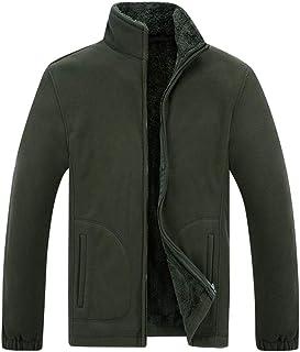 Buby Men Long Sleeve Solid Coats Jackets Mens Casual Fashion Full Zipper Stand Collar Warm Fleece Outwear Tops Sweater Swe...