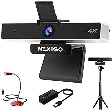 4K Zoomable Webcam Kits, NexiGo UHD 2160P Webcam with 8.5MP Sony Senor, 5X Digital Zoom, Extendable Tripod Stand, USB Micr...