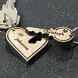 Colgante del amor de madera auténtica, con grabado personalizado a elección, llavero,...