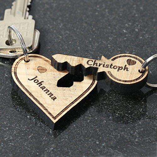 Bütic GmbH Echtholz Liebes-Anhänger individuell graviert Schlüsselanhänger Wunschgravur, Form:Herz mit Schlüssel