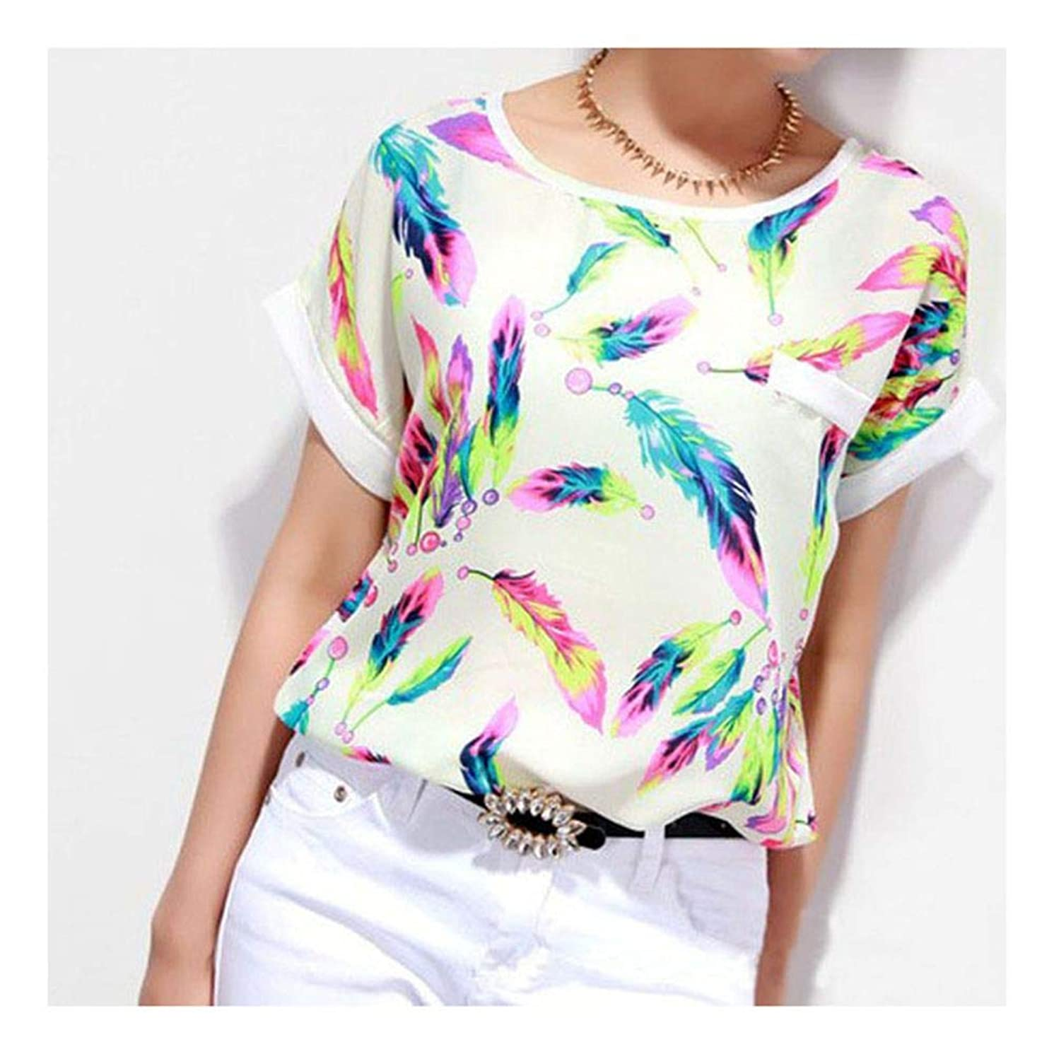Womens Shirts Short Sleeve Plus Size Floral Print Loose Casual Tunic Tops Blouse T-Shirt for Women Ladies Teen Girls