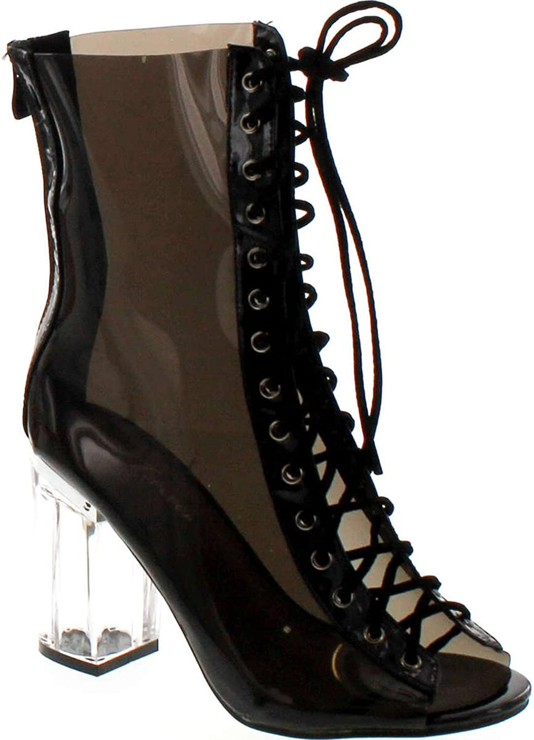Forever Clear-45 Above Ankle Clear Peep Toe Lace Up Boots & Perspex Plexiglas Block Heel