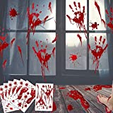 EZIGO 60Pcs Halloween Party Decorations Stickers Bloody Hand/Footprints Bloodstains Clings Scary Zombie Halloween Party Supplies Blood Stickers Indoor/Outdoor Halloween Floor Window Clings 10 Sheets