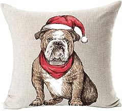 LYNZYM Cotton Linen Sofa Pillowcover Decorative Cushion Cover 18X 18 Throw Pillow Covers Home Decor Christmas Pillow Christmas Dog (5)