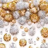 Baker Ross Pompon glitterati oro e argento. Creazioni fai da te e decorazioni natalizie per bambini (confezione da 100)