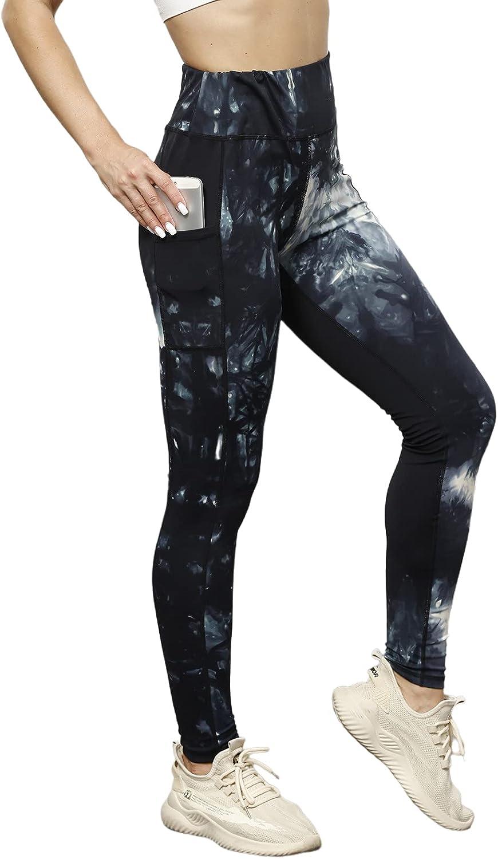 Zexxxy Women Tie Dye Yoga Pants Leggings High Waist Ruched Butt Sports Athletic Pants
