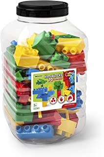 Wader 41295 41295-Kids Blocks Building Blocks, 70 Pieces, in Various Shapes and Bright Colours, Includes Practical Plastic...