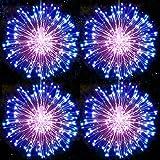 Fuegos artificiales Luces Cadena Luces LED Navidad Guirnaldas Luminosas Navidad Fuegos Alambre con Control Remoto para Jardín, Fiestas, Boda, Casas y Fiesta (Azul Rosado)