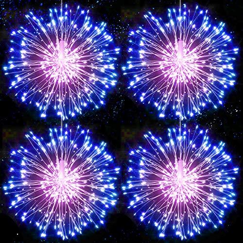 Feuerwerk Lichterketten Starburst Lichter LED Kupferdraht Feuerwerk Lichter Lichterkette mit Fernbedienung 8 Modi der Lumineszenz Wasserdicht für Haus Garten