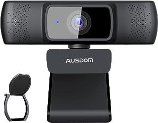 Autofocus Webcam FHD 1080P con Privacy Cover, AUSDOM AF640 Web Camera 30fps per Business, PC, DoppioMicrofono Integrato, Grandangolo 90°, Stream Web Cam per Videochiamate, Registrazione, Conferenze
