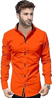 SUR-T Men's Cotton Double Button Casual Solid Slim Fit Shirt for Men