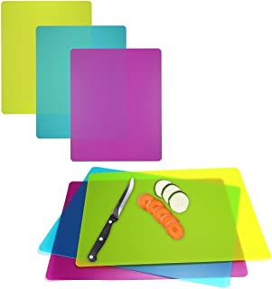 6 Pack Flexible Cutting Boards Color Coded Plastic Chopping Mats Dishwasher Safe