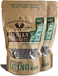Extra Dark Chocolate 70% Cocoa Content — Chopped for Snacking or Melting