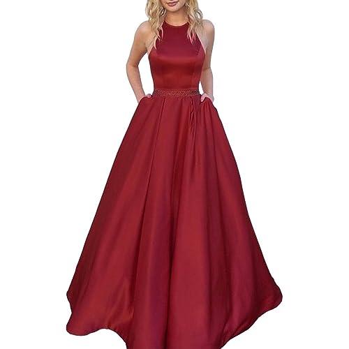 Satin Long Burgundy Dress: Amazon.com