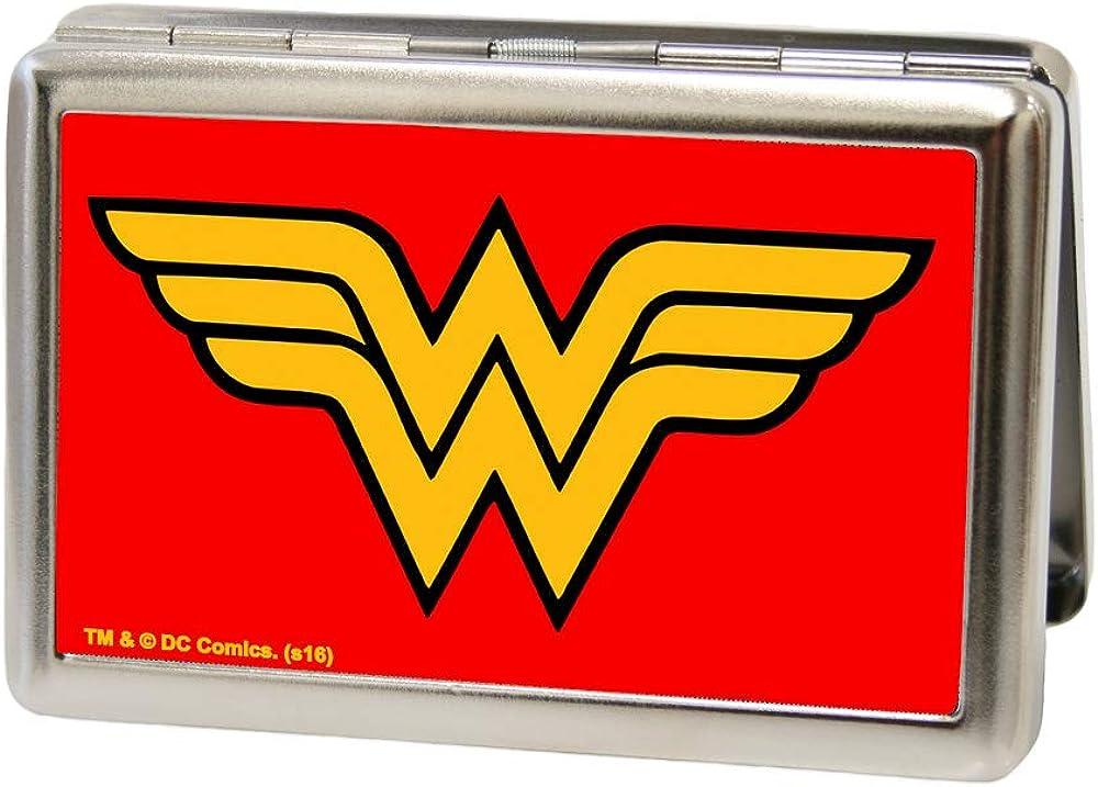 Buckle-Down Metal Wallet-Wonder Woman Logo Fcg Red