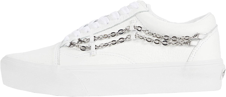 Vans Women's Chain Old Skool Platform Sneakers Shoe (True White/True White, Medium