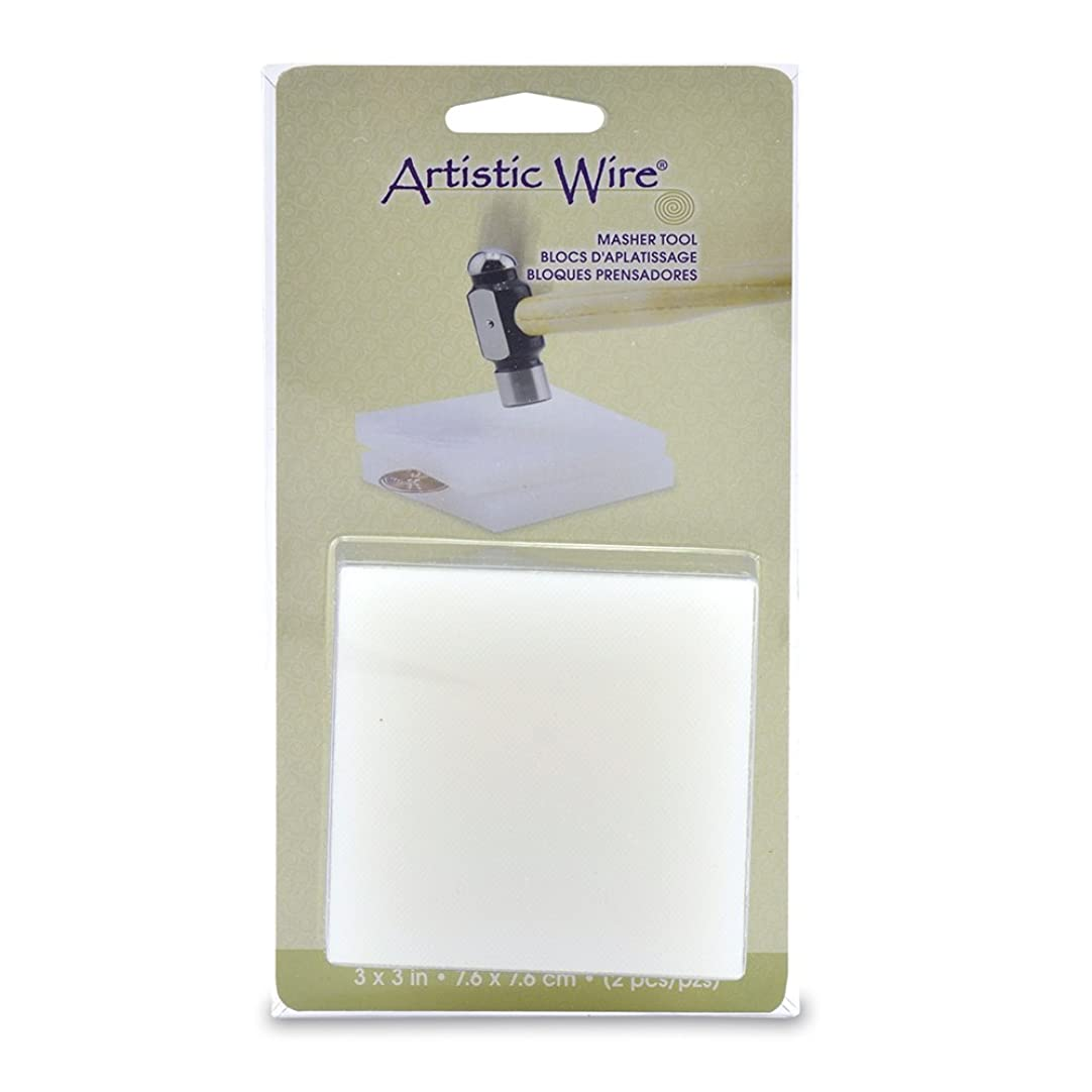 Artistic Wire 2-Piece Nylon Masher Block for Jewelry Making, 3 by 3-Inch