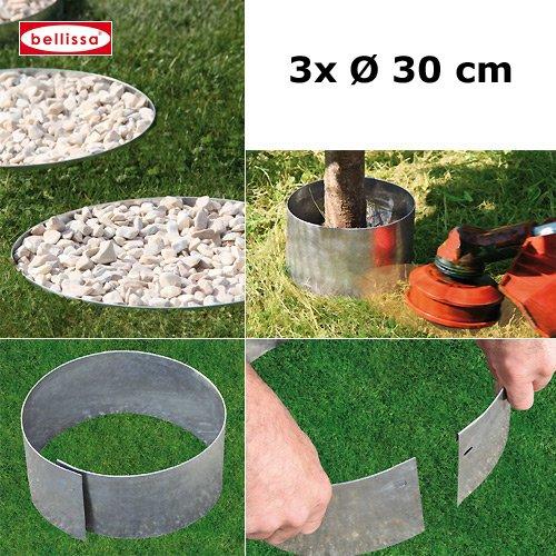 3er Set Bellissa Rasenkante Kreis Beetumrandung, Beeteinfassung, Baumschutz, Mähschutz für Bäume vom KiesKönig Durchmesser 30 cm