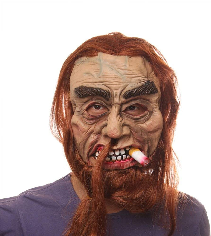 Zicue Humgoldus Mask Masquerade Prom Mask Halloween Supplies Latex Mask Bar Horror Scary Props Smoke Ghost Mask mask