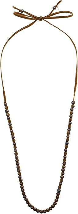 Chan Luu - Sterling Silver Adjustable Necklace with Fresh Water Pearls and Velvet Overlay