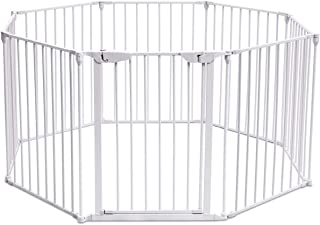 Costzon Baby Safety Gate, 4-in-1 Fireplace Fence, 204-Inch Wide Barrier with Walk-Through Door in Two Directions, Add/Decrease Panels Directly, Wall-Mount Metal Gate for Pet & Child (White, 8-Panel)