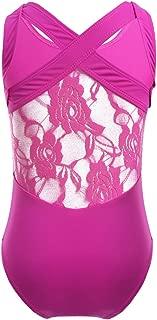 inlzdz Kids Girls One Piece Sleeveless Floral Lace Criss-Cross Back Tank Leotard Gymnastics Ballet Dance Athletic Bodysuit