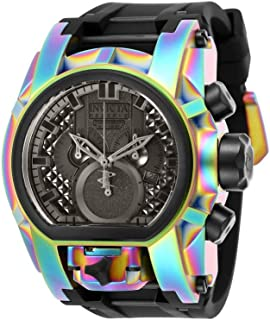 Men's Reserve Stainless Steel Quartz Watch with Silicone Strap, Black, 34 (Model: 25609)