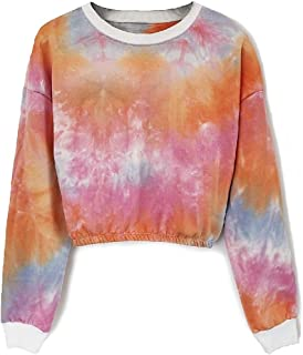 Comaba Women's Ombre Rainbow Blouse Long-Sleeve Tie-Dye Sweatshirts Tees