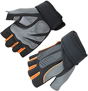 MDYYD Motorcycle Gloves Unisex Outdoor Snowboarding Skiing Cycling Half Finger Mountain Bike Biking Riding Gloves Suitable for Winter Ideal for Riding and Hiking (Color : Orange2, Size : XL)