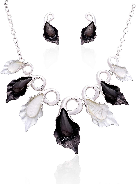Fenni Vintage Calla Lily Floral Bohemian Boho Statement Necklace Earring Set Fashion Leaf Flower Costume Jewelry