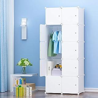 PREMAG Armoire Penderie Portable Storage Modulable Meuble Étagères de Rangement DIY avec Blanc Portes pour Vêtements Chaus...