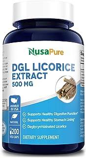 DGL Licorice Extract 500 mg 200 Veggie Capsules (Vegan,Non-GMO & Gluten-Free) - Supports Healthy Digestive & Respiratory F...