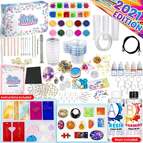 Insnug Epoxy Resin Molds Jewelry Making Kit - Silicone Mold Resin Kit Dried Flowers, Arts and Crafts Supplies Casting Pigment Dye for Jewelry Storage Office Home Decor Decorations Keychain Accessories