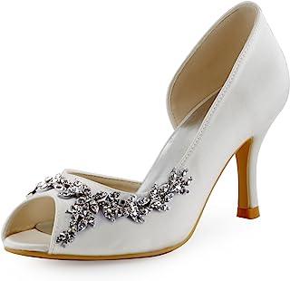 ElegantPark Women Peep Toe Rhinestones Pumps High Heel Satin Evening Prom Wedding  Shoes 09340d1fdc5d
