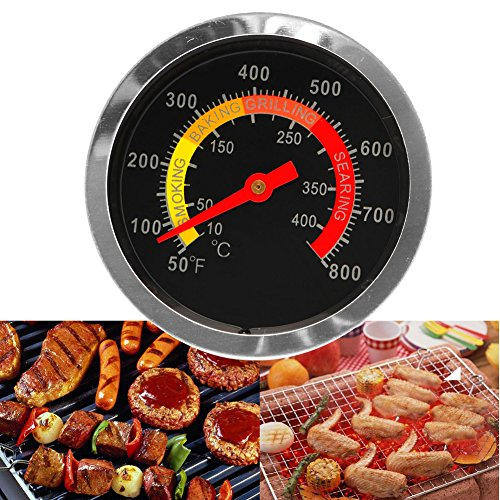 Yiwann Keuken Koken Thermometer, Oven BBQ RVS Barbecue Roker Grill Thermometer Temperatuur Gauge 10-400°C