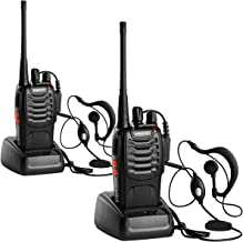 ANSIOVON Walkie Talkie-Rechargeable Long Range Two Way Radio-16 Channels-LED Flashlight -Earpiece-UHF 400-470Mhz-Professional Walky Talky-1500 Mah Rechargeable Li-ion Battery(Include)-2 Pack.