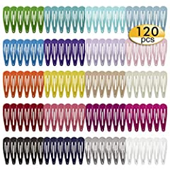 "Valuable Package: Package Includes 120 pcs Anti -slip Printed Metal Barrette Hair Clips. Suitable For Any Age Female: 2"" snap clip barettes set for teen, child,girls and woman. Assorted Colors: Comes in 20 different bright colors, each color is 6 pcs..."