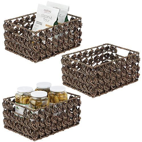 mDesign Juego de 3 cestas organizadoras para Armario o Estante – Canasta Trenzada de Junco Marino con Asas – Cesto extraíble para baño, Cocina, salón o Dormitorio – 22,9 x 30,5 x 15,2 cm – marrón