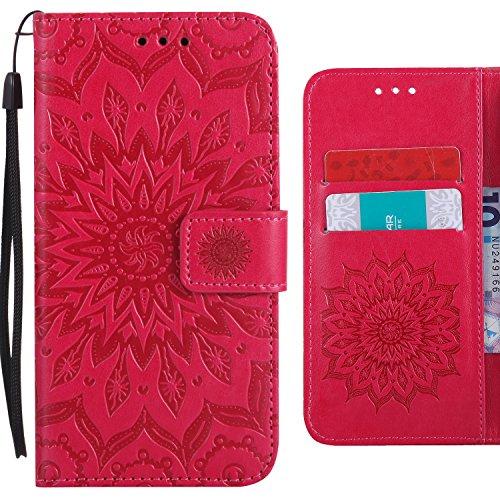 Ougger Handyhülle für Motorola Moto G6 Plus (2018) Hülle, Blühende Blumen Leder Schutzhülle Schale Weich TPU Silikon Magnetisch-Stehen Beutel Flip Cover Tasche Moto G6 Plus 2018 mit Kartenslot (Rosa)
