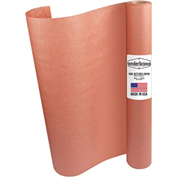 """Pink Butcher Kraft Paper Roll - 18 """" x 175' (2100"""") Peach Wrapping Paper for Beef Briskets - USA Made - All Natural Approved Food Grade BBQ Meat Smoking Paper - Unbleached Unwaxed Uncoated Sheet"""
